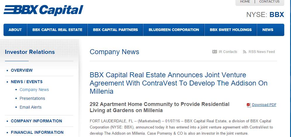 7 January 2016 Bbx Capital Real Estate Announces Joint Venture